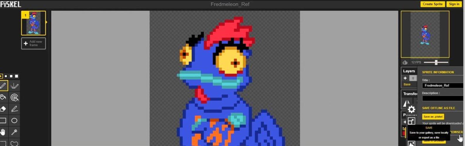 Actividad para niños de Arte 2D/3D: Fredmeleon